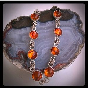 925 Authentic Baltic Amber Silver Link Bracelet